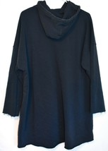 Missguided Women' Oversized Navy Blue Raw Hem Hoodie Sweatshirt Dress Size 2 image 2