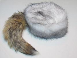 Arctic Wolf Tail Davey Crockett Coonskin Cap Real Fur Coon Daniel Boone Hat - $34.99
