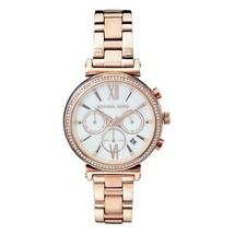 Michael Kors Women's Watch Ladies RoseGold Steel Bracelet White Dial MK6576 - $247.18