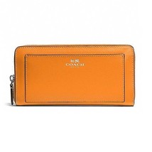 COACH F50427 DARCY LEATHER ACCORDION ZIP WALLET SILVER/TANGERINE NWT $248 - $128.69