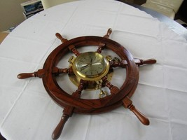 """VINTAGE 27"""" SHIPS WOODEN WHEEL WITH HEAVY BRASS PORTHOLE CLOCK-UNUSED EXC!! - £123.43 GBP"""