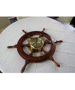 "VINTAGE 27"" SHIPS WOODEN WHEEL WITH HEAVY BRASS PORTHOLE CLOCK-UNUSED EXC!! - $159.95"