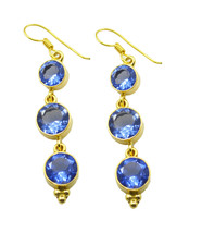 Blue Gold Plated Fashion exquisite Blue Shappire CZ Designer Earring UK gift - $10.53