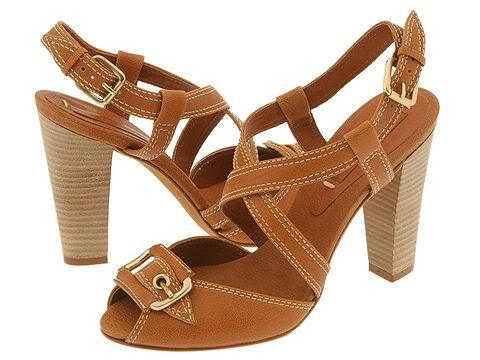 BCBG Max Azria Isreal Womens 9.5 Shoes Chunky Heels Tan Strappy Buckle Leather