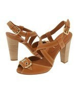 BCBG Max Azria Isreal Womens 9.5 Shoes Chunky Heels Tan Strappy Buckle L... - $57.00