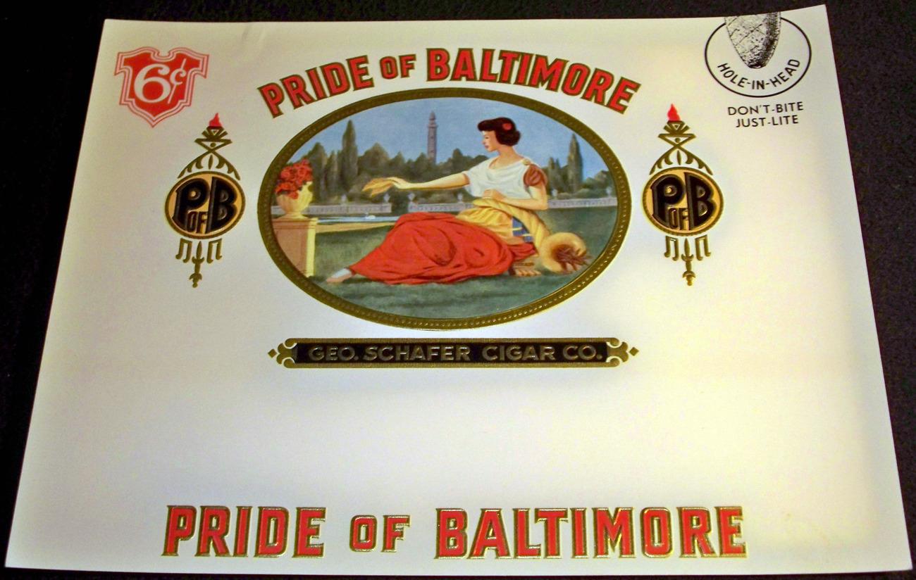Pride of Baltimore Embossed Inner Cigar Label, 1910's