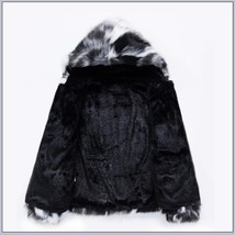 Natural Marbled Black and White Rabbit Faux Fur Front Zip Hooded Coat Jacket image 3