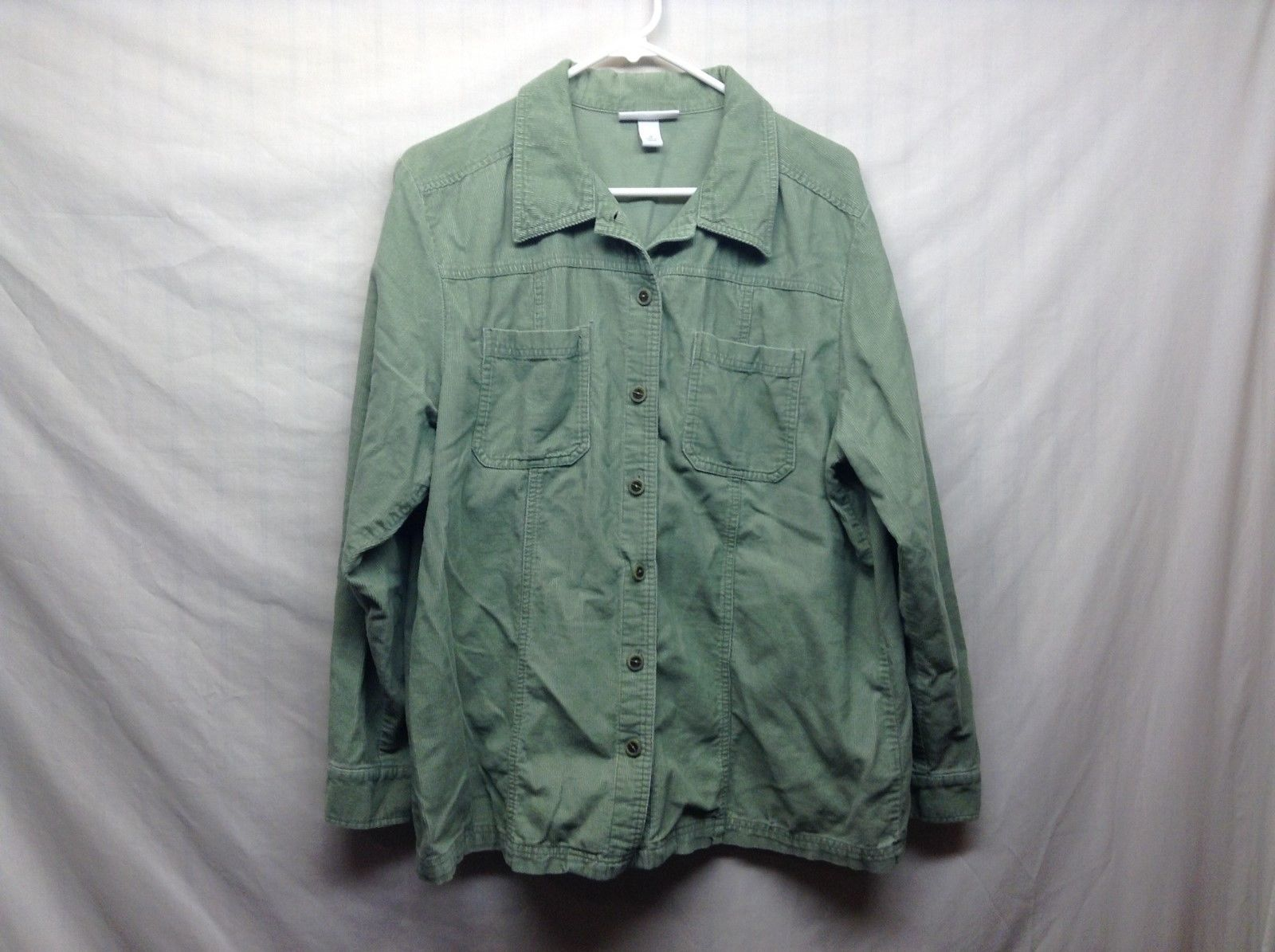 Dressbarn Light Green Corduroy Button Up Shirt Sz 1X