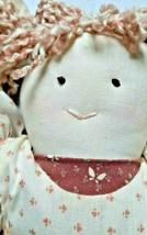 "VTG 13"" 90's Miss Pigtail Soft Body Handmade Cotton Cloth Doll Mauve Dress - $15.80"