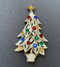 Eisenberg Ice Christmas Tree Brooch Frosted White Snow Rhinestone Gold Tone - $39.56