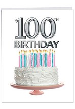 Big Day 100 - Beautiful Milestone 100th Birthday Card with Envelope Large 8.5 x