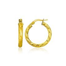 14k Yellow Gold Women's & Girl's Unique Hoop Earrings w/ Diamond Cut Style - $157.94
