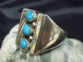 LARGE SZ. 11 1/2 STERLING AND 3 STONE TURQUOISE SOUTHWEST ARTISAN SIGNED... - $64.35