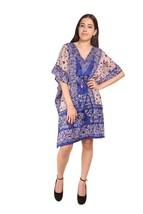 Elephant Short Ravishing Kaftan~Beachwear V-Neck Blue Caftan Tunic~Free Size - $9.12