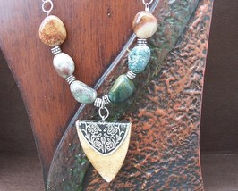 Jasper Necklace Shield and Jasper Necklace Hand Made In USA - $24.00