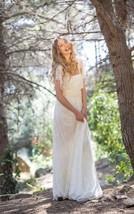 Boho Cape Sleeve Pleated Long Lace Wedding Dresses With Ruching and Sash - $133.80
