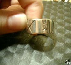 Sterling Silver Gothic Etched Blk Unisex Band Sz 7.5