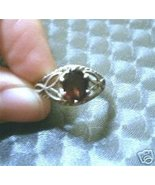 925 Sterling Silver w Garnet Ring sz 7.25 Filigree - $78.95