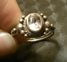 Sterling Silver Ring sz 7.75 Antique Look w CZ