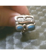 Sterling Silver Turquoise w Buffalo Native Ring sz 4 - $74.95