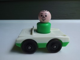 Vintage Fisher Price Little People Dad in Green and White Car - $8.59