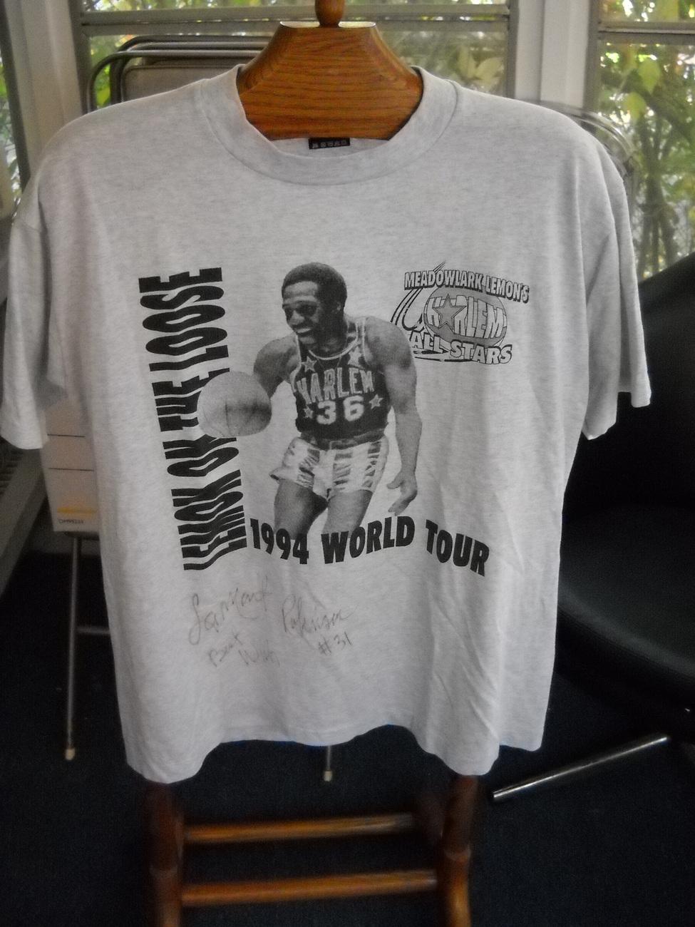 Shirt t shirt fotl best ss lamont robinson harlem globetrotter autographed xl grey 01