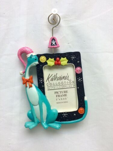 Primary image for Katherine's Collection Aqua Cat Black Frame Christmas tree Ornament