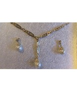 Charter Club GOLD-Tone FAUX Pearl GLAS Pendant Necklace & Drop Earrings... - $39.70