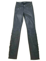 new J BRAND women jeans super skinny mid-rise coated JB001042 black 23 M... - $57.99