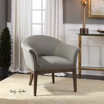 NEW PLUSH SEA MIST POLYESTER ACCENT CLUB ARMCHAIR CHAIR MODERN CURVED BA... - $756.80