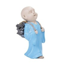 Colorful Joyful Monk Gathering Firewood Baby Buddha Resin Figurine - £9.16 GBP