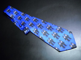 DiCaprio Neck Tie Blue with Repeating English Bobbies - $9.99