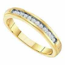 14k Yellow Gold 1/4 Ctw Diamond Wedding Anniversary Band Ring Size 7 - $296.01