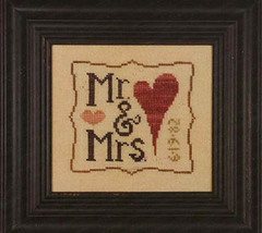 Mr. & Mrs. Wee One wedding cross stitch chart charms Heart in Hand  - $7.65
