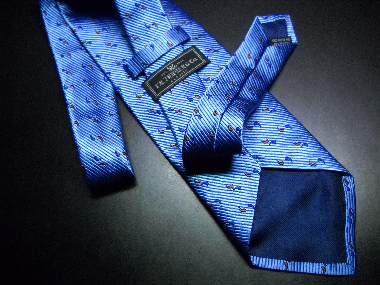 FR Tripler & Co. Neck Tie Silk Italian Bright Blues