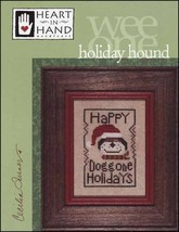 Holiday Hound Wee One dog christmas cross stitch chart Heart in Hand  - $4.50