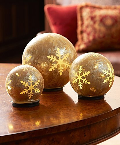 LED Glass Snowflake Globes with Six Hour Timers Set of 3