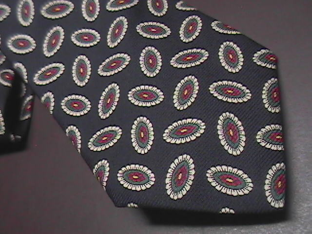Tie brooks brothers makers black with white  green   red oval accents 02