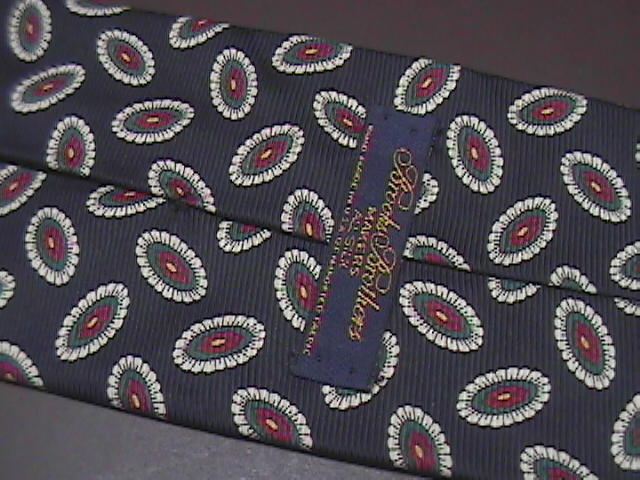 Brooks Brothers Makers Neck Tie Black with Cream and Red Accents