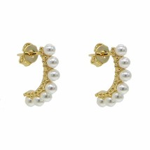 New Fashionable White Pearl Curved Bar Stud Earring Gold Silver Sea Fres... - $13.29