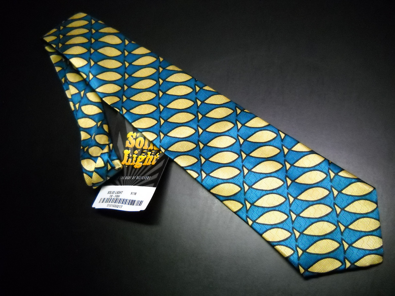 Tie religious solid light green blue fish new with tags 01