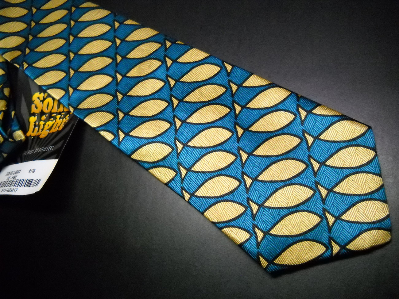 Solid Light Neck Tie Green Blue With Gold Fish Completely Unused with Tags