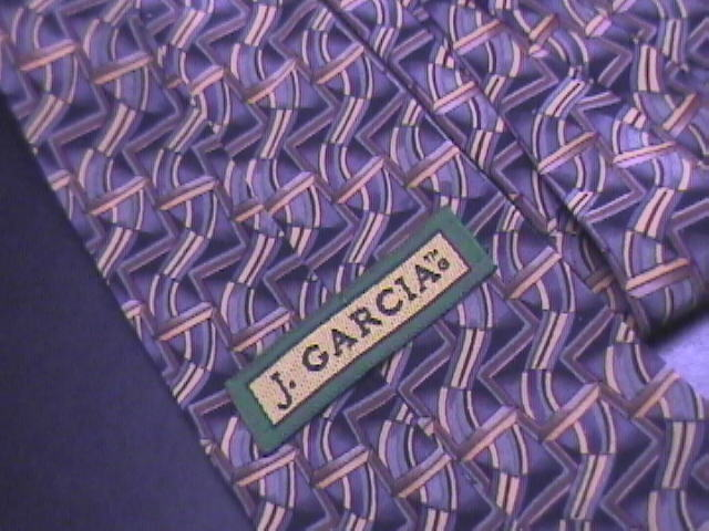 J Garcia Neck Tie No Title Geometric Patterns in Colors of Blues and Golds Silk