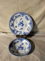Blue Spode Edwardian Childhood Plate And Bowl England - $15.00