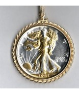 """""""Silver & Gold"""" U.S...Walking Liberty half  coin pendant with 14K chain - $225.00"""