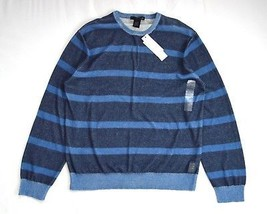 NWT CALVIN KLEIN Jeans Faded Navy Soft Cotton Knit Striped Sweater Shirt... - $14.84