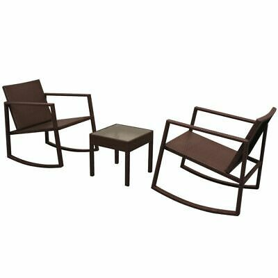 vidaXL Outdoor Rocking Chair Table 3 Piece Poly Rattan Brown Garden Furniture image 2