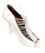 GIVENCHY Leather Pump Off White Peep Toe Multi-Strap Slip On Heel Sz 39.5 - $185.25