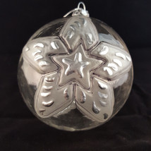 Vintage Clear Glass Christmas Tree Ornament STAR Snow Globe Ball Transpa... - $11.99