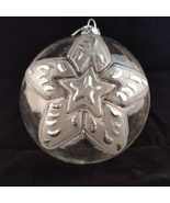 Vintage Clear Glass Christmas Tree Ornament STAR Snow Globe Ball Transpa... - $11.99